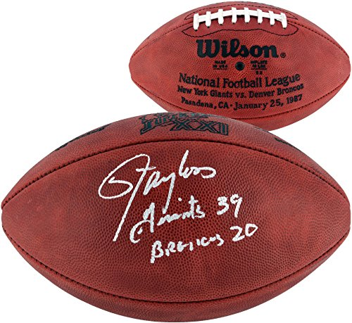 Sports Memorabilia Lawrence Taylor New York Giants Autographed Superbowl XXI Football with Giants 39 Broncos 20 Inscription - Fanatics Authentic Certified ()