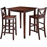 Amazon bar table chair sets kitchen dining room winsome 3 piece kingsgate dining table with 2 bar v back chairs brown watchthetrailerfo