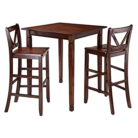 Winsome 3-Piece Kingsgate Dining Table with 2 Bar V-Back Chairs, Brown