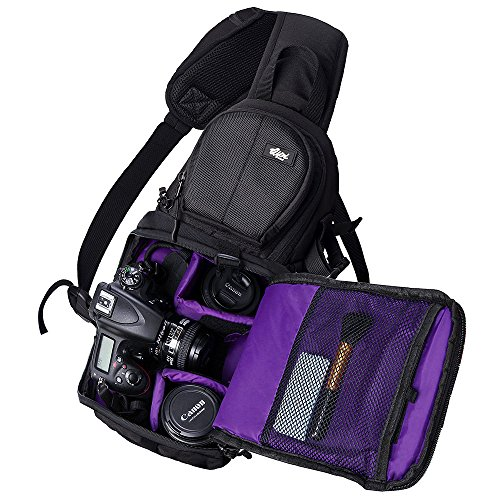 Qipi-Camera-Bag-Sling-Style-Camera-Backpack-with-Padded-Crossbody-Strap-for-DSLR-Mirrorless-Cameras-Nikon-Canon-Sony-Black