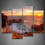 Golden Sun Over Sea Leval Small Bay And Beach Wall Art Painting Pictures
