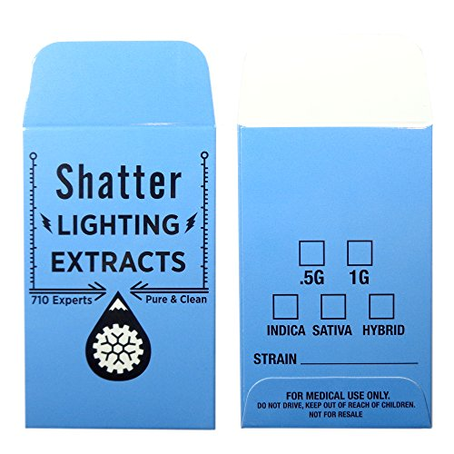 1000 Blue Shatter Lightning Extracts Concentrate Strain Label Envelopes #126 by Shatter Labels
