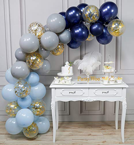 Boy Birthday Decorations PartyWoo Blue and White Balloons 40 pcs 12 Inch Baby Blue Balloons White Balloons Pack White Marble Balloons and Gold Confetti Party Balloons for Boy Baby Shower Decorations