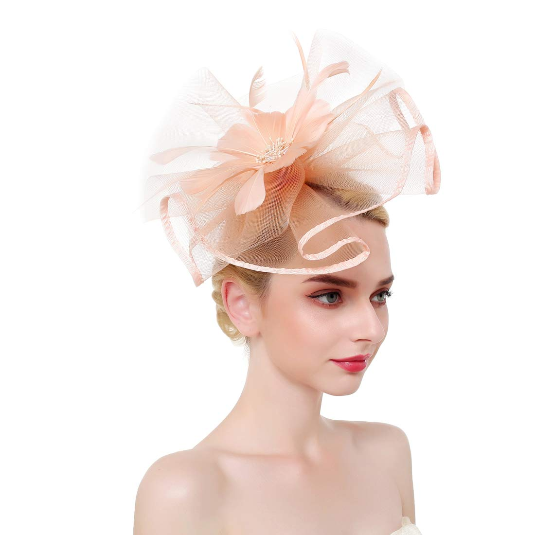 Navy VGLOOK Flower Cocktail Tea Party Headwear Feather Fascinators Derby Hat for Girls and Ladies