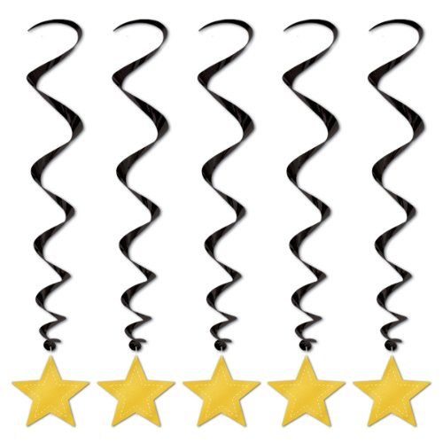 Beistle 5-Pack Star Whirls, 3-Feet, Black and Gold ()