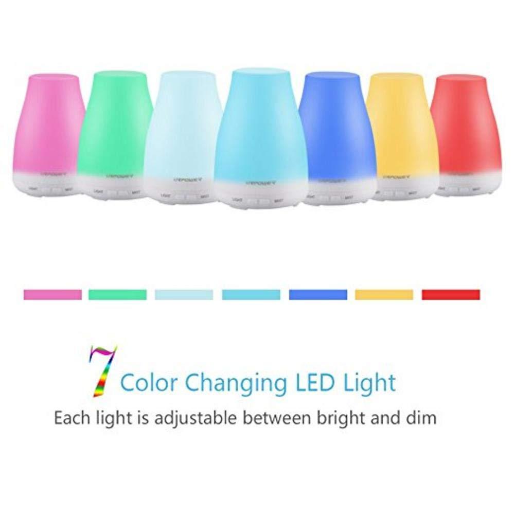 miraculocy Difusor De Aceite Esencial Humidificadores USB 5V Difusores De Aromaterapia con Aroma Ultras/ónico con 7 Luces LED De Colores Intercambiables