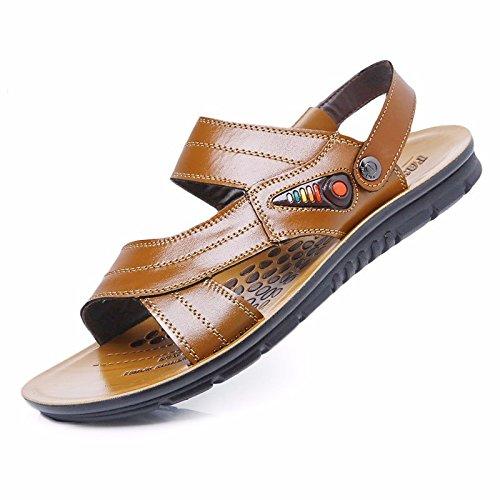estate Il nuovo Spiaggia scarpa Uomini vera pelle sandali vera pelle traspirante Tempo libero scarpa Uomini Taglia larga sandali ,giallo,US=7,UK=6.5,EU=40,CN=40