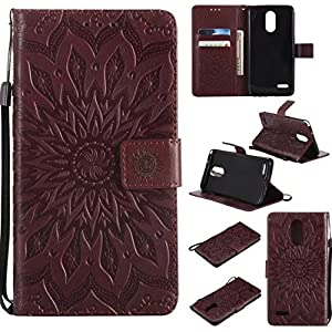 LG Stylo 3 Wallet Case, LG Stylus 3 Case,A-slim(TM) Sun Pattern Embossed PU Leather Magnetic Flip Cover Card Holders & Hand Strap Wallet Purse Case for LG ...
