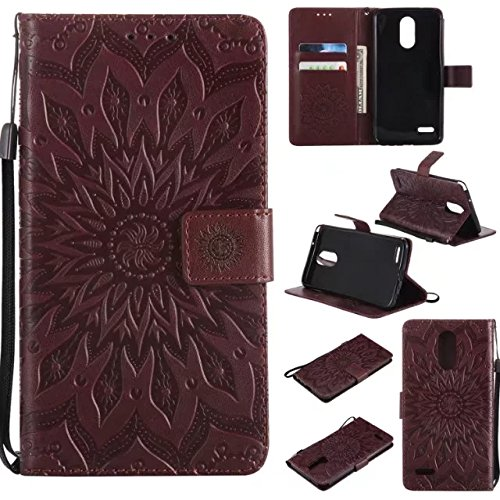 Price comparison product image NOMO LG Stylo 3 Case,  LG Stylo 3 Plus Wallet Case, LG Stylo 3 Flip Case PU Leather Emboss Mandala SUN Flower Folio Magnetic Kickstand Cover with Card Slots for LG Stylo 3 Plus / LS777 Brown