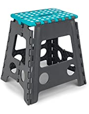 Beldray LA032638TQ Large Folding Step Stool with Carry Handle, Lightweight, Folds Easily for Compact Storage, Ideal for Hard to Reach Places, DIY , Turquoise, 29 x 22 x 39.5 cm