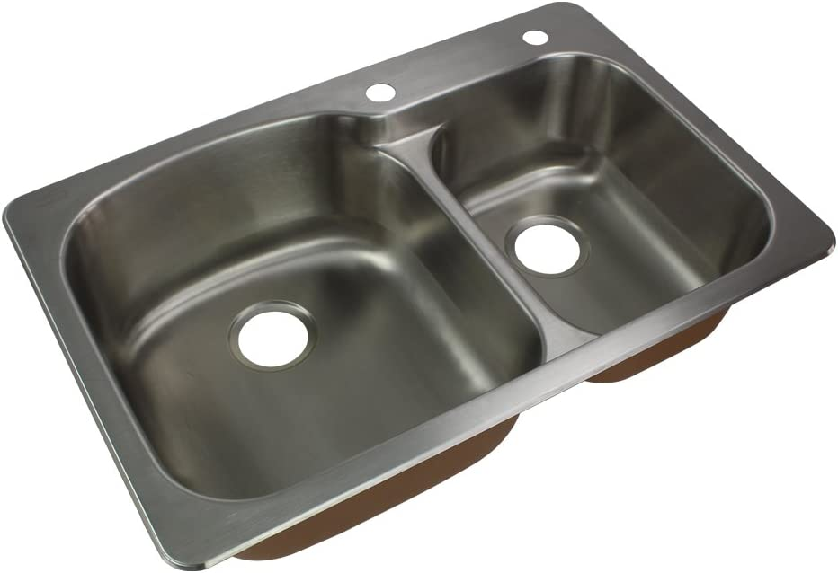 Transolid CTDD33229-2 Classic Stainless Steel 2-Hole Drop-in 75 25 Double bowl Kitchen Sink, 22 1 64 L X 33 W X 9 H, Brushed