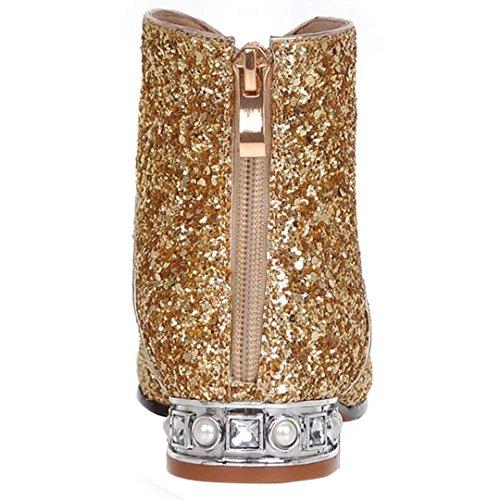 Hochzeit Braut Flache Gold Damen Reißverschluss Glitzer Stiefeletten mit Ankle Strass Spitze YE Schuhe Boots w6qBvZv4