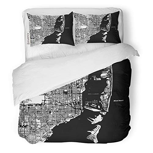 Emvency Decor Duvet Cover Set Full/Queen Size South Miami and Beach Map Artprint Black Landmass White Water and Roads Atlas 3 Piece Brushed Microfiber Fabric Print Bedding Set Cover