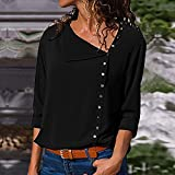 Womens Casual Lapel Neck T-Shirt Ladies Long Sleeve Buckle Blouse Tops BK/XL