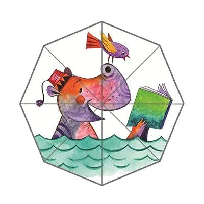 Hippopotame et oiseau de lecture livre Imprimé pluie Parapluie pliable