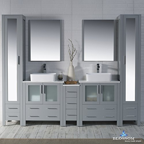 BLOSSOM 001-102-15-D-1915V-MLC Sydney 102'' Vanity Set with Vessel Sinks and Mirror Linen Cabinet Metal Gray by Blossom