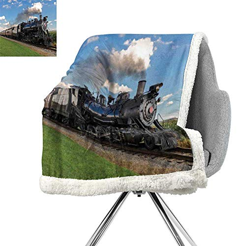 Steam Engine Lightweight Fluffy Flannel and Sherpa Blanket,Vintage Locomotive in Countryside Scenery Green Grass Puff Train Picture,Blue Green Black,Print Summer Quilt Comforter W59xL47 ()