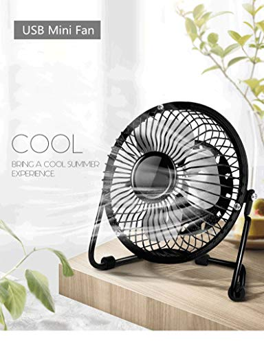 SIMPLEONE USB Desk Mini Fan Portable Fan with 360 Rotation 4 Inches Aluminum Leaf Metal Design High Compatibility, Quiet Operation Air Radiator for Laptop, USB Cable Powered (Color : Black)