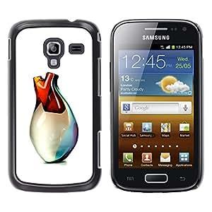 GOODTHINGS Funda Imagen Diseño Carcasa Tapa Trasera Negro Cover Skin Case para Samsung Galaxy Ace 2 I8160 Ace II X S7560M - corazón del florero de cristal 3d arte blanco