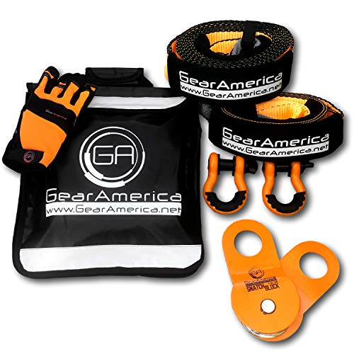 GearAmerica Off-Road Recovery Kit | Tow Strap + Tree Saver + Heavy Duty Snatch Block Pulley + D-Ring Shackles + Winch Line Dampener Bag + Recovery Gloves | Ultimate 4x4 Winching & Rigging Accessories