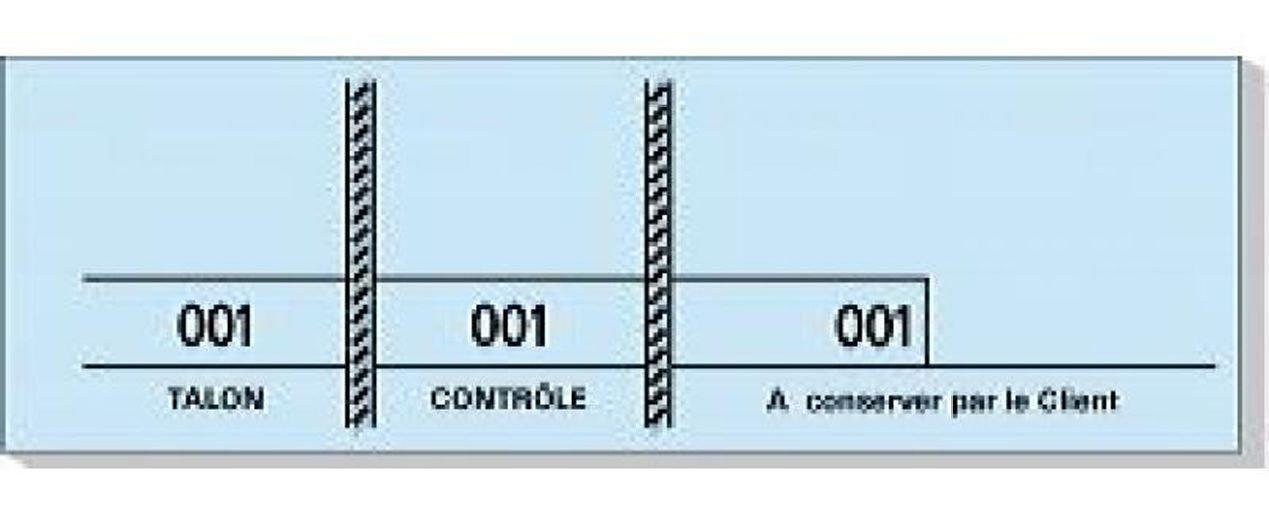 Mondial-fete - Carnet de 100 tickets bleus numérotés 3 souches - 48 x 150 mm