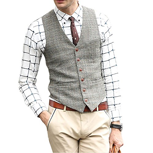 Zicac Men's Unique Advanced Custom Vest Skinny Wedding Dress Waistcoat (S,Light Gray) ()