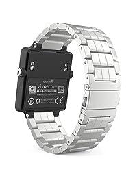 Garmin Vivoactive Acetate Watch Band, MoKo Universal Stainless Steel Adjustable Watch Band Strap Bracelet for Garmin Vivoactive Acetate Sports GPS Smart Watch, Silver