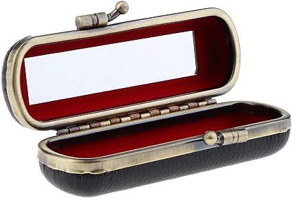 B Baosity Caja de Lápiz Labial Recipientes de Joyería Estuche de Pintalabios Contenedor con Espejo - Negro: Amazon.es: Belleza