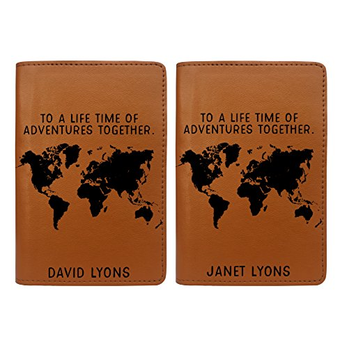 Personalized RFID Passport Holder Cover - Set of 2 - Couples Wedding Gift