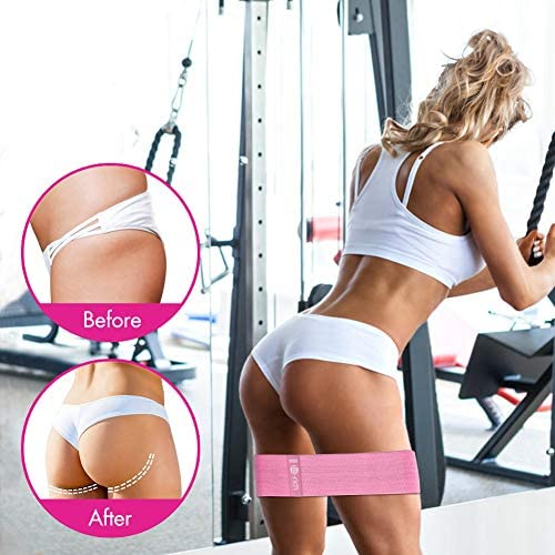 Te-Rich Resistance Bands for Legs and Butt, Fabric Workout Bands, Women/Men Stretch Exercise Loops, Thick Wide Non-Slip Gym Bootie Band 3 Set for Squat Glute Hip Training 5