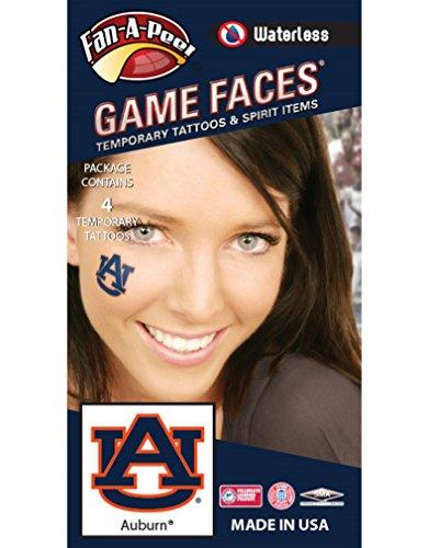 Auburn University (AU) Tigers - Waterless Peel & Stick Temporary Spirit Tattoos - 4-Piece - Burnt Orange/Navy Blue AU - Au Tigers University Auburn