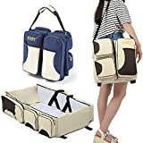 Binglinghua 3in1 Crib Bassinet Portable Nursery Bed Diaper Bag Baby Infant Foldable Travel (Beige)