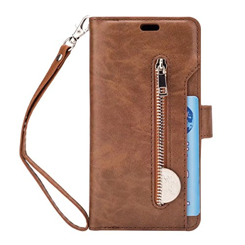 Samsung Galaxy S9+ Plus Case, ArtMine Large Capacity Multi Card Slots Wallet PU Leather Phone Case with Detachable Wristlet for Samsung Galaxy S9 Plus 6.2 inch, Brown