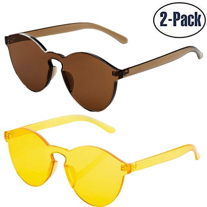 5e91e46221ec JOJO'S SECRET One Piece Rimless Sunglasses Transparent Candy Color Women  Sunglasses JS017 (Brown+ Yellow,