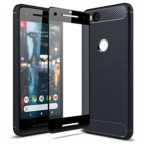 Olixar Google Pixel 2 Case with Screen Protector - 360 Degree Full Body Cover - Edge to Edge Tempered Glass - Front and Back Tough Rugged Protection - Wireless Charging Compatible - Black