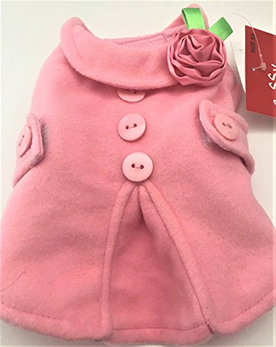 Adorable MICROFLEECE DOG COAT Adorned with Satin Rose, Pink, Sz. S ()