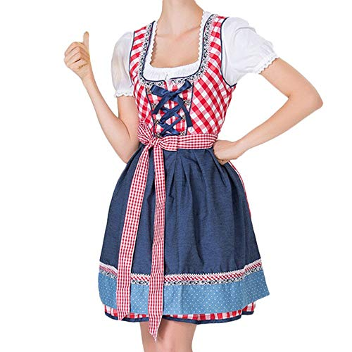 Togethor Women's German Dirndl Dress Costumes Bandage Apron Exclusive Authentic Bavarian Oktoberfest with Blouse Red -
