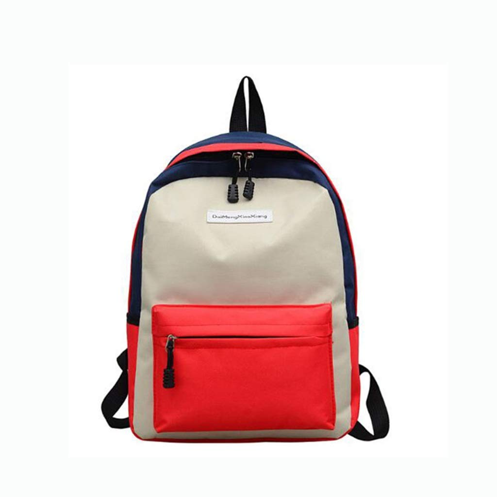 Beige 28x11x39cm QRFDIAN Canvas school bag girl student backpack small fresh backpack Fabric (color   Red, Size   28x11x39cm)