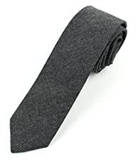Men's Chambray Cotton Skinny Necktie Tie Textured Distressed Style - 2 1/2