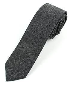Men's Chambray Cotton Skinny Necktie Tie - 2 1/2