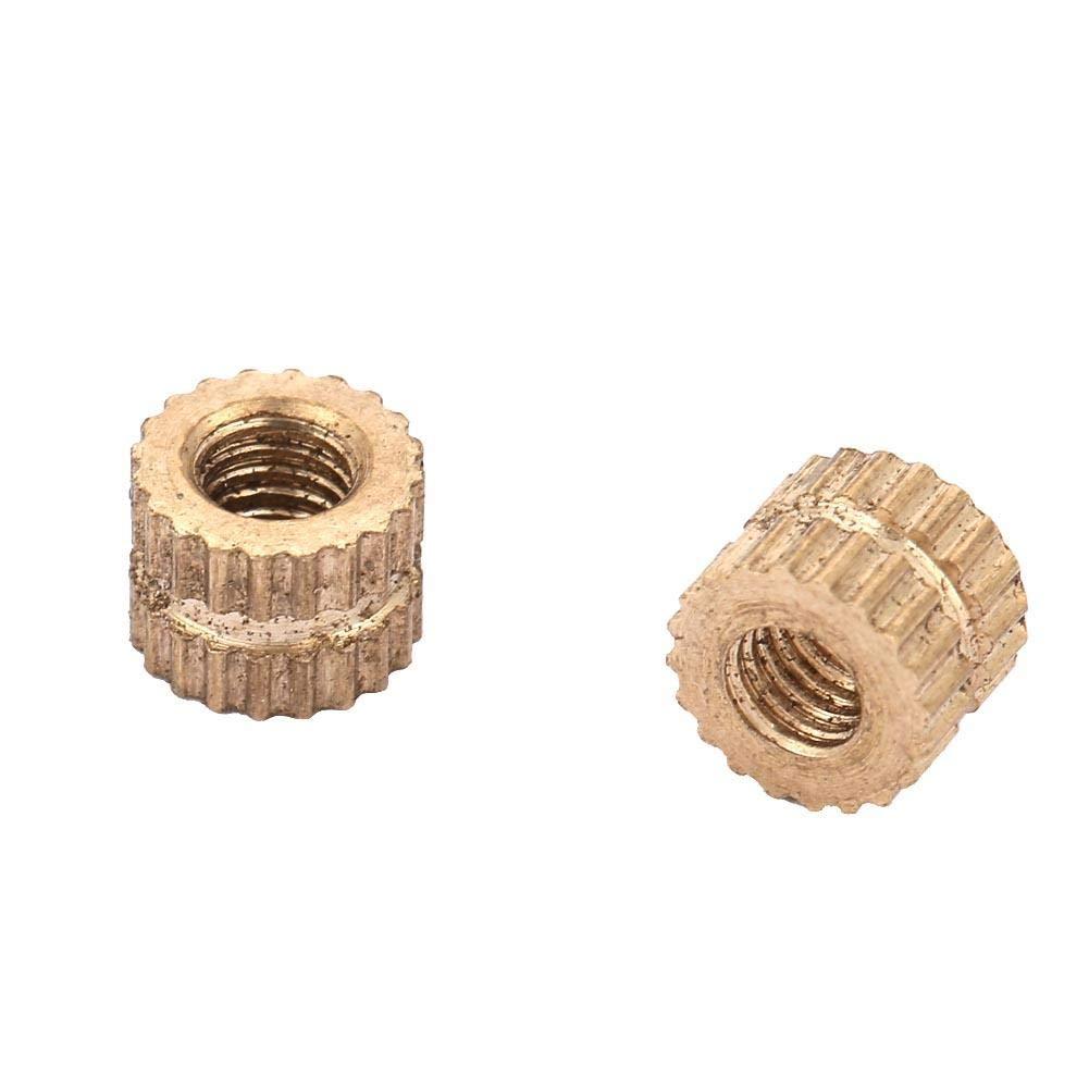 50 ST/ÜCKE Messing Zylinder R/ändelmuttern Rundes Innengewinde Eingespritzte Einlegemuttern Embedded Molding Sortiment Kits Set M3*3 * 5.3