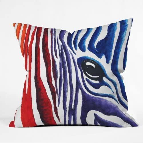 Deny Designs Madart Colorful Zebra Throw Pillow, 26-Inch by 26-Inch