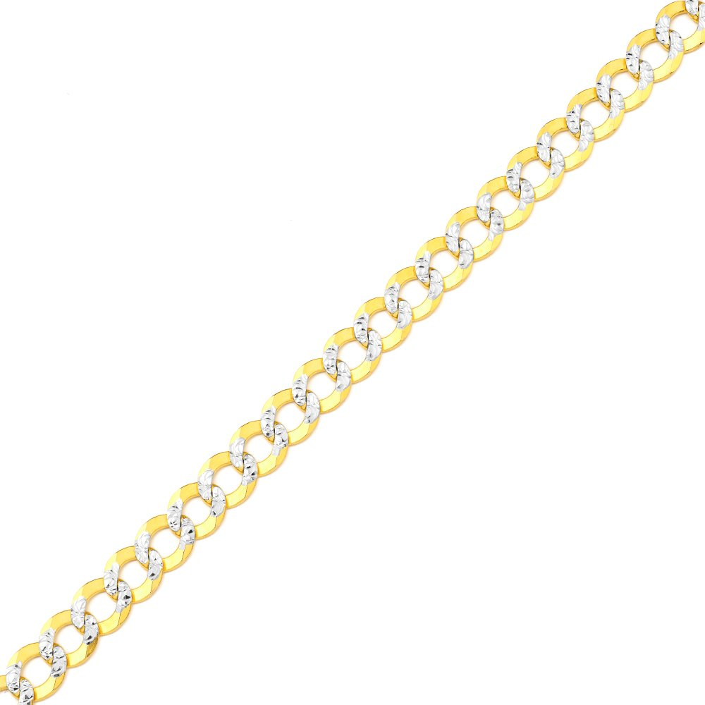 LoveBling 10K Yellow Gold 7mm 8'' Solid Pave Two-Tone Curb Chain Bracelet with White Gold Pave Diamond Cut, with Lobster Lock