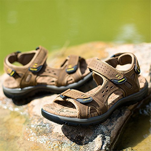 Brown Leather Beach Head Shoes Light Casual Men's Sandals Qxh Round Breathable 7wnqFgxC