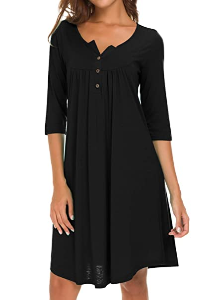 7ed536d931 AMCLOS Womens V Neck Dress Casual Swing Simple Ruffle Button up Loose  Dresses 3 4