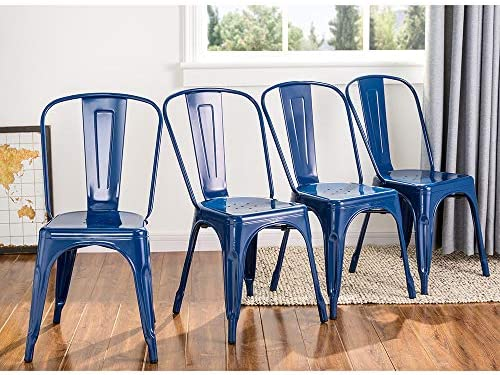 Glitzhome Metal Dining Chairs Indoor Outdoor Chairs Stackable Side Chair