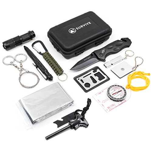 Emergency Survival Kit 13 in 1, SURVIVE Outdoor Car Kit includes Knife Flashlight Fire Starter Tactical Pen Compass Multi Tool Whistle Paracord Signal Mirror Wire Saw Blanket