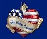 GOD BLESS AMERICA HEART Patriotic USA Ornament Old World Christmas NEW IN BOX