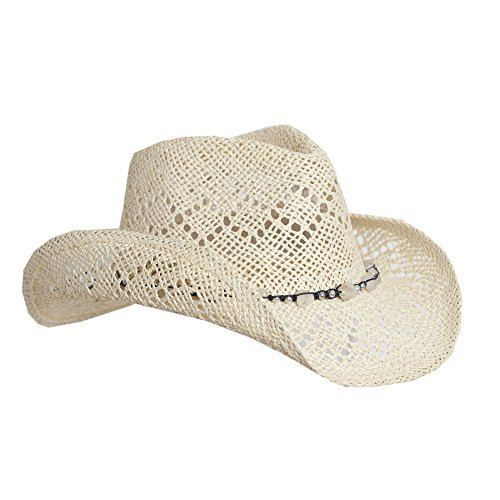 Light Natural Tan Straw Cowboy Hat for Women with Beaded Trim - Shapeable Brim