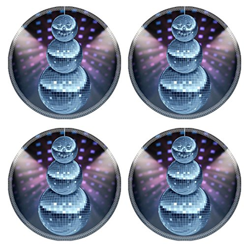 Era Years Disco (Liili Round Coasters Winter holiday music symbol with Dance night disco balls as a mirror sphere Photo)